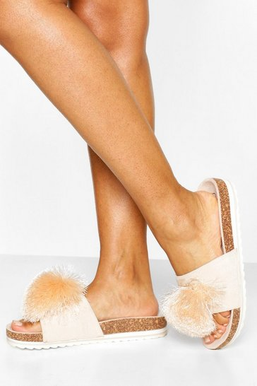 Nude Pom Pom Footbed Sliders