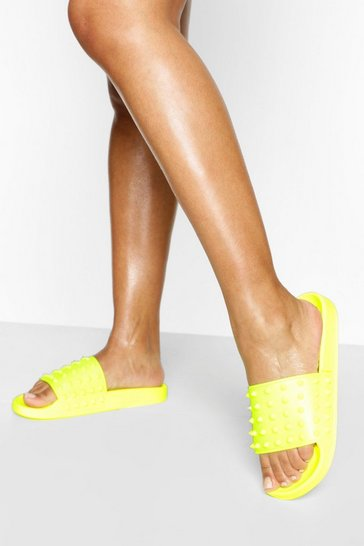 Yellow Studded Pool Sliders