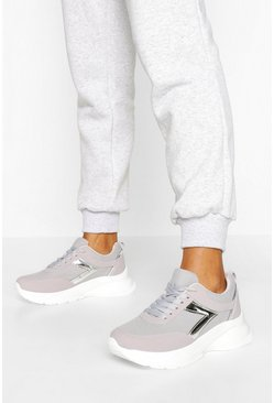 Grey Metallic Panel Chunky Trainers
