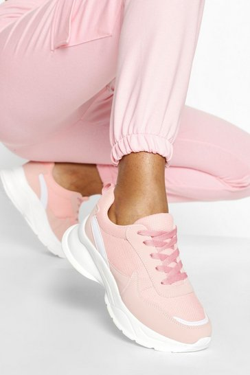 Pink Multi Panel Chunky Trainers