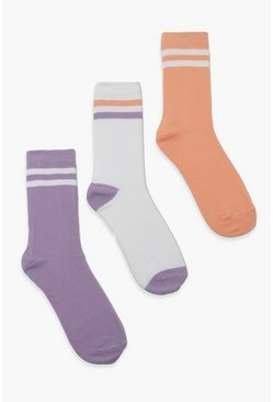 Pastel Stripe Sports 3 Pack Socks, Multi