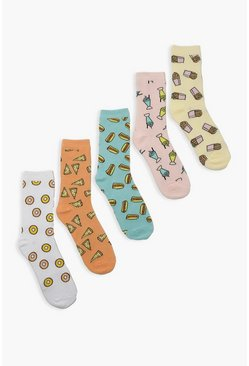 Multi Junk Food 5 Pack Ankle Socks