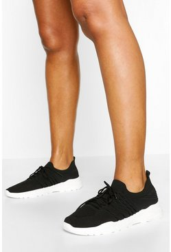 Black Chunky Sole Knitted Trainers