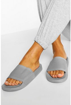 Grey Knit Effect Pool Slider