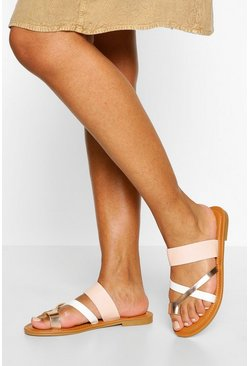 Pink Multi Strap Toe Post Slider