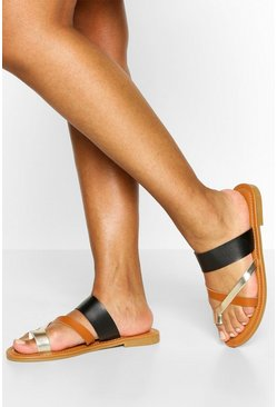 Black Multi Strap Toe Post Slider