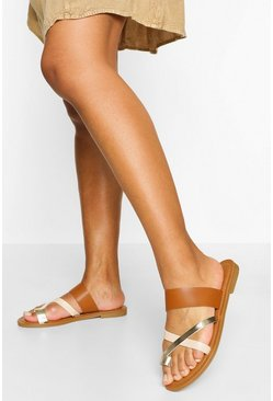 Tan Multi Strap Toe Post Slider