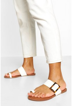 White Buckle Detail Toe Post Slider