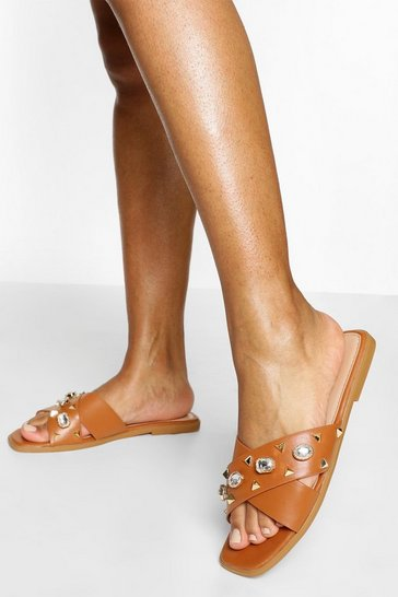 Tan Embellished Cross Strap Slider