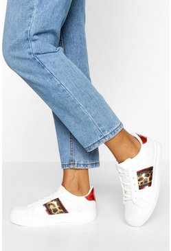 Leopard Side Stripe Platform Trainers