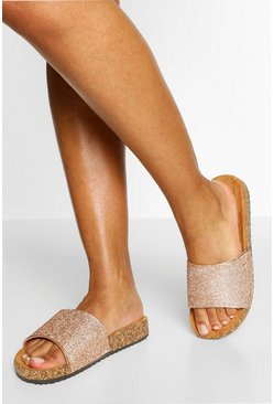 Champagne Diamante Single Strap Footbed Slider