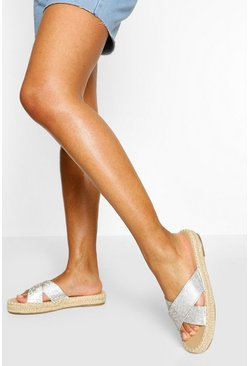 Nude Diamante Cross Strap Espadrille Slider