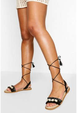 Black Shell Detail Wrap Strap Sandal