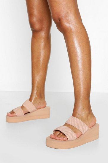 Nude Wedge Double Strap Mule