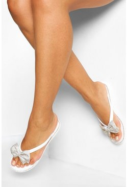 Diamante Bow Jelly Flip Flop, Clear