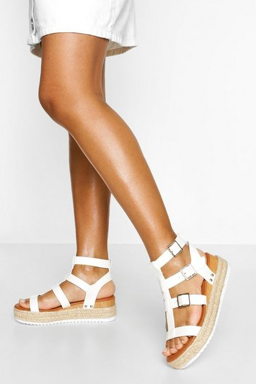 White Gladiator Footbed Sandal