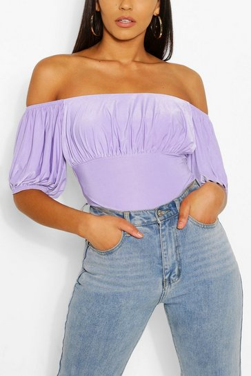 Lilac Gathered Off The Shoulder Bodysuit