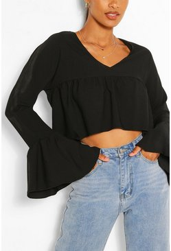 Black Woven Flare Sleeve Smock Top