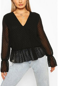 Dobby Mesh Tunic Smock Top, Black