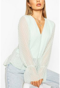 Mint Dobby Mesh Tunic Smock Top