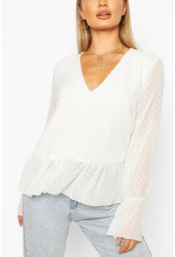 Dobby Mesh Tunic Smock Top, White