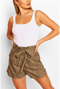 Khaki High Waist Pocket Detail Paperbag Shorts