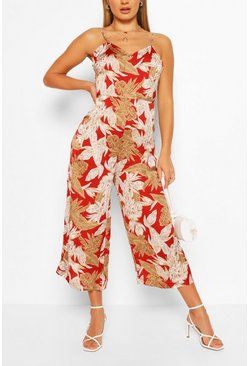 Red Tropical Floral Print Strappy Culotte Jumpsuit