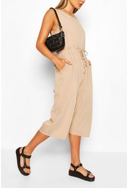 Slouchy Drawstring Waist Culotte Jumpsuit, Camel