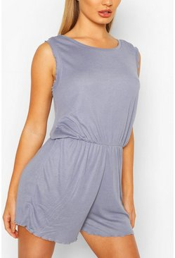 Slate blue Frill Detail Scoop Neck Playsuit
