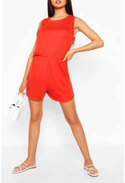 Red Frill Detail Scoop Neck Playsuit