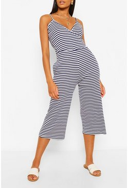 Navy Striped Wrap Front Strappy Culotte Jumpsuit