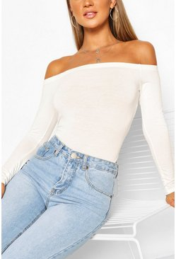 Off the Shoulder Bodysuit, White