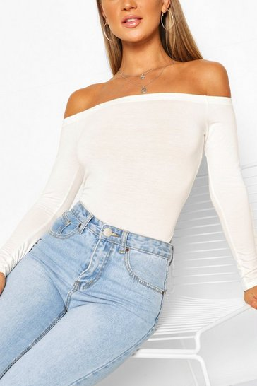 White Off the Shoulder Bodysuit