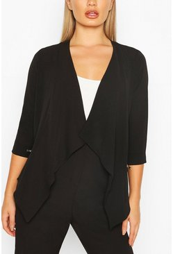 Waterfall Zip Detail Blazer, Black