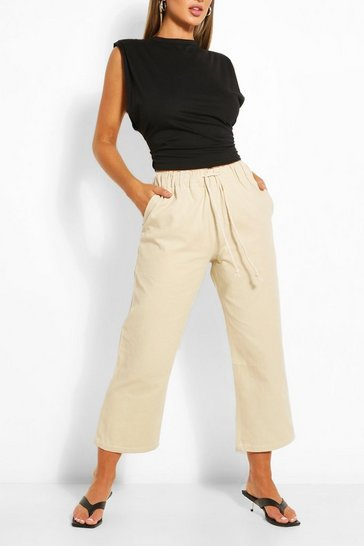 Beige Drawstring Tailored Jogger