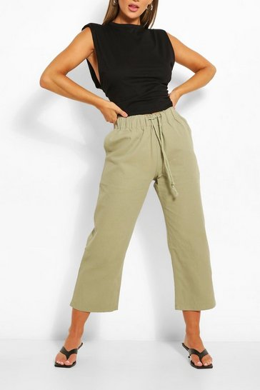 Khaki Drawstring Tailored Jogger