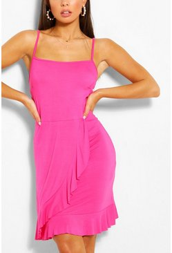 Hot pink Strappy Ruffle Detail Sundress