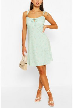 Ditsy Floral Strappy Swing Dress, Sage