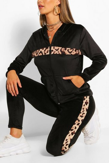 Black Leopard Print Colour Block Tracksuit