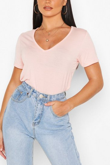 Blush Basic Super Soft V Neck T-Shirt