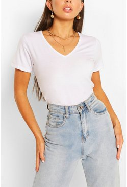 White Basic t-shirt med V-ringning