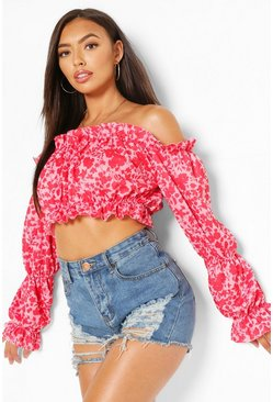 Ditsy Floral Ruffle Detail Off The Shoulder Crop Top, Pink