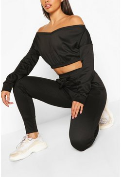 Black CROP SWEAT AND JOGGER SET