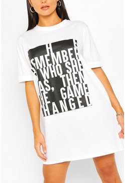 White Colour Block Slogan T-shirt Dress