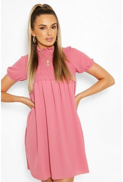 Shirred Puff Sleeve Smock Dress, Pink