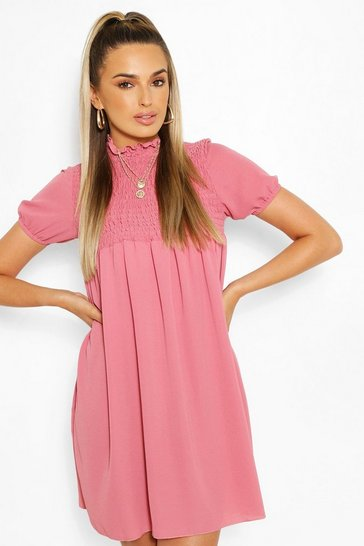 Pink Shirred Puff Sleeve Smock Dress
