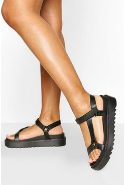 Black Chunky Cleated Sports Sandals