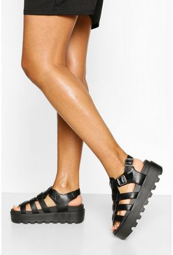 Black Chunky Cleated Sandals