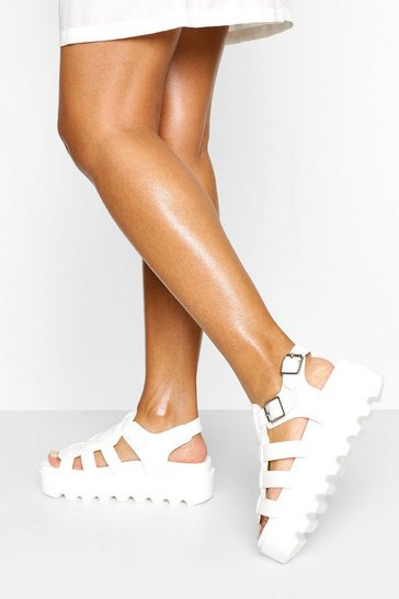 White Chunky Cleated Sandals