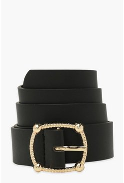 Black Smooth Pu Buckle Detail Boyfriend Belt